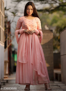 Impressive Designer Pink Embroidered And Handwork Front Cut Designer Wear Outfit Along With Plazzo And Dupatta