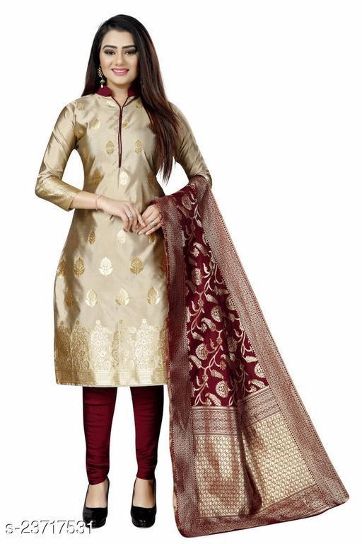 Women's Ethnic Wear Trendy Beige Colour Banarasi Cotton Silk Unstitched Dress Material