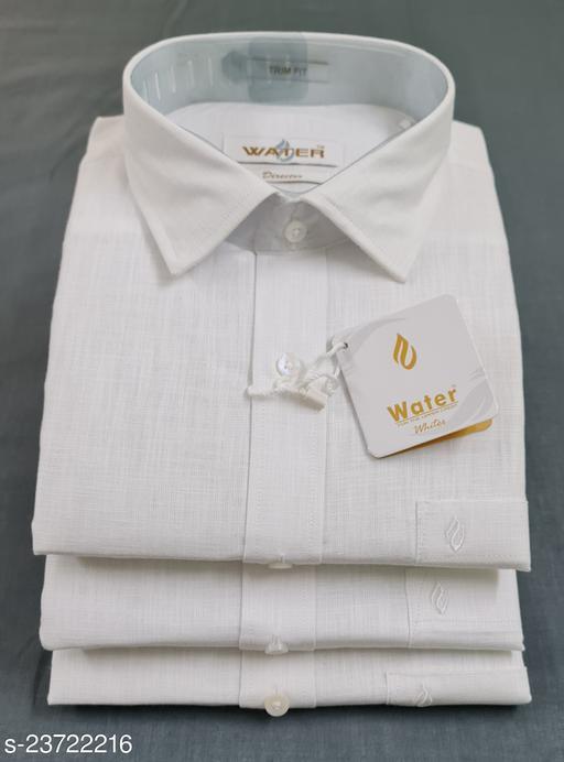 Trendy Cotton Linen Trim Fit Men Shirt