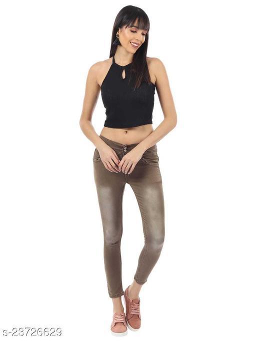 Neon 9 Skinny Womens Plain Denim Jeans Strechable