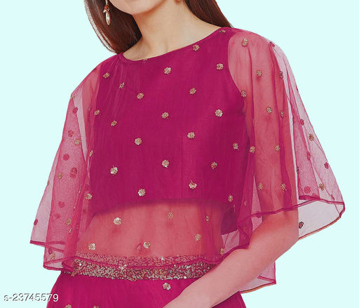 Poncho Net Embrodered Design Blouse