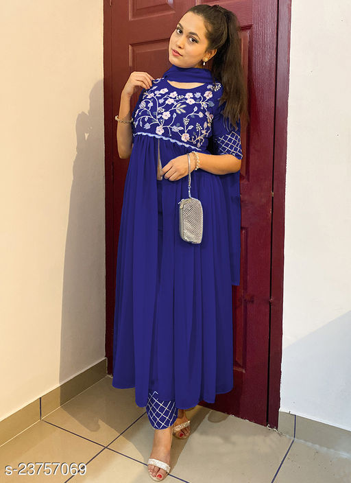 Impressive Designer Blue Embroidered And Handwork Front Cut Designer Wear Outfit Along With Plazzo And Dupatta