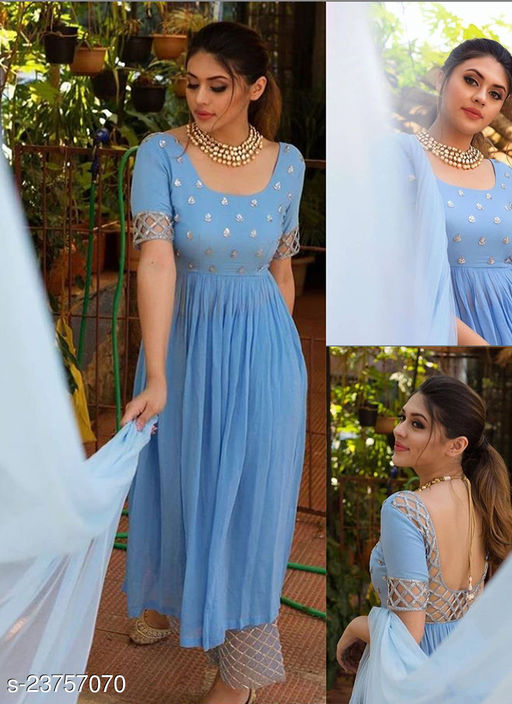 Impressive Designer Ice Blue Embroidered And Handwork Front Cut Designer Wear Outfit Along With Plazzo And Dupatta
