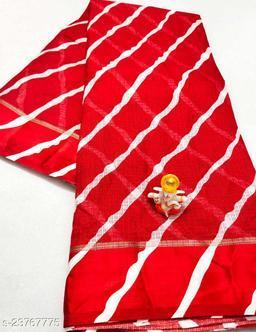 New Fashionable Red Colour Kota Doria Soft Cotton Lehariya Saree