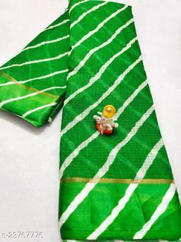 New Fashionable Green Colour Kota Doria Soft Cotton Lehariya Saree