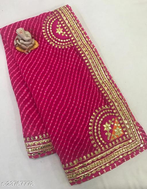 Trendy Premium Georgette Lehariya Saree with Gotta Patti Border