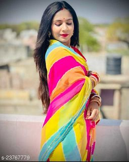 Trendy Light Georgette Lehariya Saree With Blouse