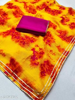 Latest New Collection of 2021 Designer Soft Cotton Fabric with Beautiful Shibori Design Sarees resellers Trusted choise by SHREE KARNI