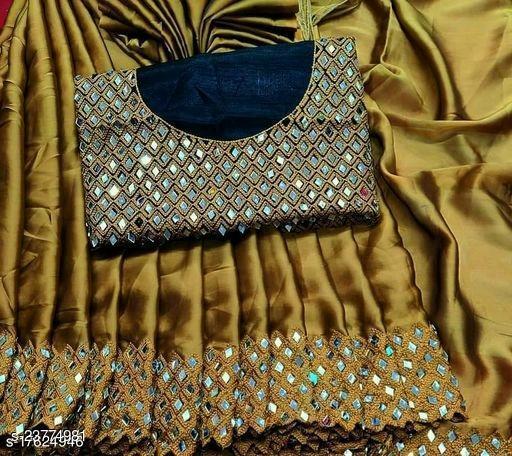 traditional look saree with original mirror work 1