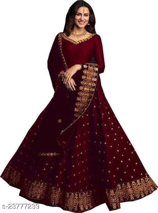 RFD-women Embroidered Semi Stitched Lehenga Choli(maroon)
