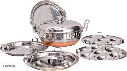 PBD Lifestyle Heavy Stainless Steal Copper Bottom Multi Kadhai With Lid Standard Idli Maker (5Plates ,14Idlis ) Induction & Standard Idli Maker  (5 Plates , 14 Idlis )