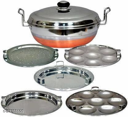 PBD Lifestyle All-in-One Stainless Steel Idli Cooker Multi Kadai Steamer with Copper Bottom, Big Size with 5 Plates 2 Idli; 2 Dhokla; 1 Patra Plate Standard Idli Maker  (5 Plates , 14 Idlis )