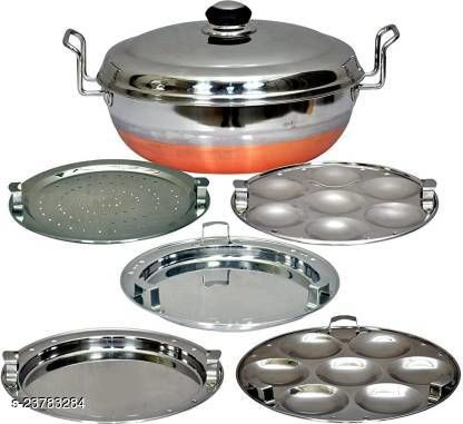 Jamuna All-in-One Stainless Steel Idli Cooker Multi Kadai Steamer with Copper Bottom, Big Size with 5 Plates 2 Idli; 2 Dhokla; 1 Patra Plate Induction & Standard Idli Maker  (5 Plates , 14 Idlis )