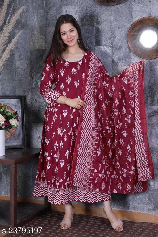 Cotton Printed Flared Kurta with Cotton Dupatta (Maroon)