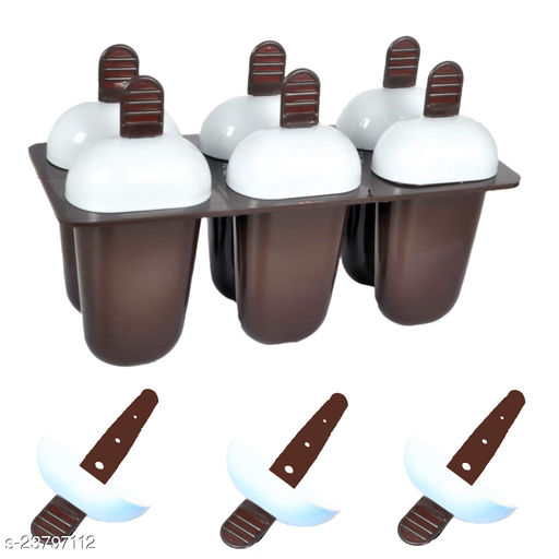 Ice Cream Mould Kulfi Maker with Stick Ice Cream Maker Candy Maker Kids Ice Cream Tray Holder Plastic Ice Candy Maker Kulfi Maker Moulds Set with 6 Cups (Brown)