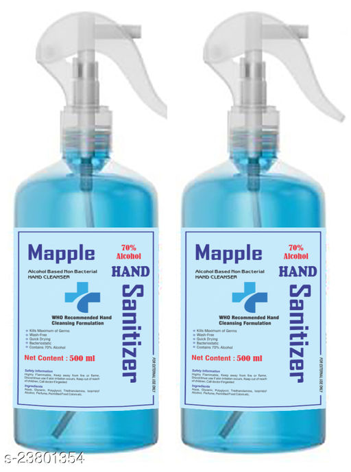 Mapple Hand sanitizer 70% isopropyl alcohol with spray pump (500 ml pack of 2)