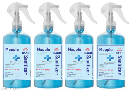 Mapple Hand sanitizer 70% isopropyl alcohol with spray pump (500 ml pack of 4)