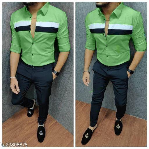 CASUAL SHIRT FOR MEN LIGHT GREEN
