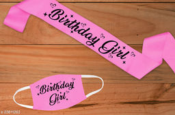 """Style Secrets 3.7"""" Shimmering Satin Ballerina Pink  Birthday Girl Sash with Matching 2 Ply Free Polyester Mask"""