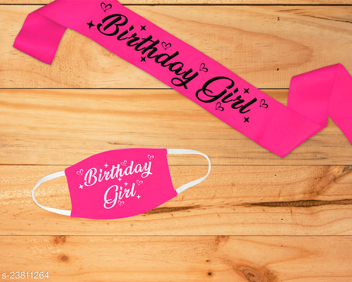 "Style Secrets 3.7"" Shimmering Satin Magenta  Birthday Girl Sash with Matching 2 Ply Free Polyester Mask"