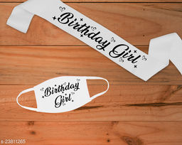 """Style Secrets 3"""" Shimmering Satin White Birthday Girl Sash with Matching 2 Ply Free Polyester Mask"""