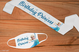 "Style Secrets 3"" Woven Edge Satin White Birthday Princess Birthday Sash with Matching 2 Ply Free Polyester Mask"