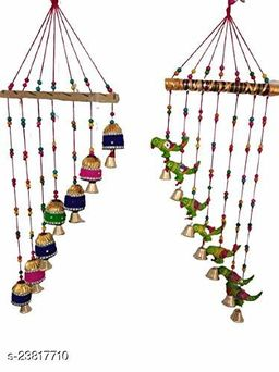 Handmade Multicolor Parrots & Bell Wall Hanging Decoration for Main Door Living Room | Tota Articles, Bell Design Hanging Toran |Home Office II Religious Festival Gift Ideal Set of 2
