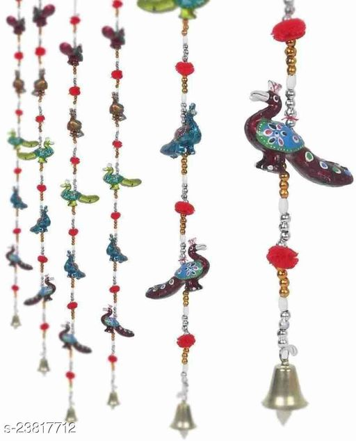 Designed Gorgeously Handmade Multicolor Peacock Wall Hanging with Bells & Colorful Balls II Entrance Door Hanging II Traditional Religious Festive Purpose II Gift Ideal to Your Loved Ones