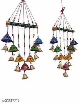 Rajasthani Wooden Multicolor Bells Wall Hanging Home Decor - Garden Decor, Living Room, Bedroom, Guest Room, Balcony, Window, Door Hanging II Gifting Ideal for Your Loved Ones Set of 2