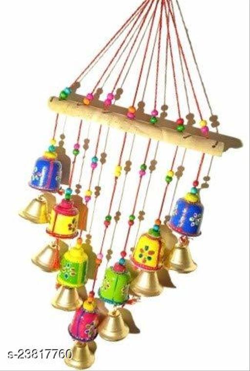 Rajasthani Wooden Multicolor Bells Wall Hanging Home Decor - Garden Decor, Living Room, Bedroom, Guest Room, Balcony, Window, Door Hanging(190g) II Gifting Ideal for Your Loved Ones