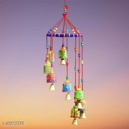 Indian Rajasthani Handmade Traditional Art Home Decoration Wall Hanging Wind Chime Bells ,Wood