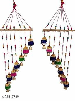 Multicolor Bell Wall Hanging Decoration for Main Door Living Room | Tota Articles, Bell Design Hanging Toran |Home Office II Religious Festival Gift Ideal II Set of 2