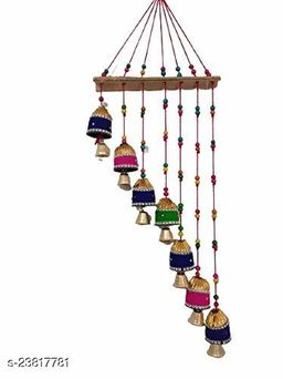 Handmade Multicolor Bell Wall Hanging Decoration for Main Door Living Room | Tota Articles, Bell Design Hanging Toran |Home Office II Religious Festival Gift Ideal II