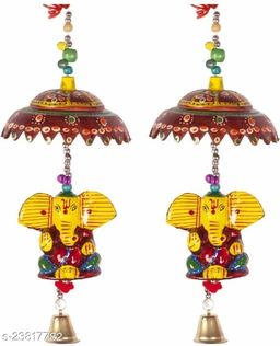 Decorative Wind Chime Door Hanging Ganesha Yellow/Red Color Door, Wall Hanging for Home, Temple, Event Decoration