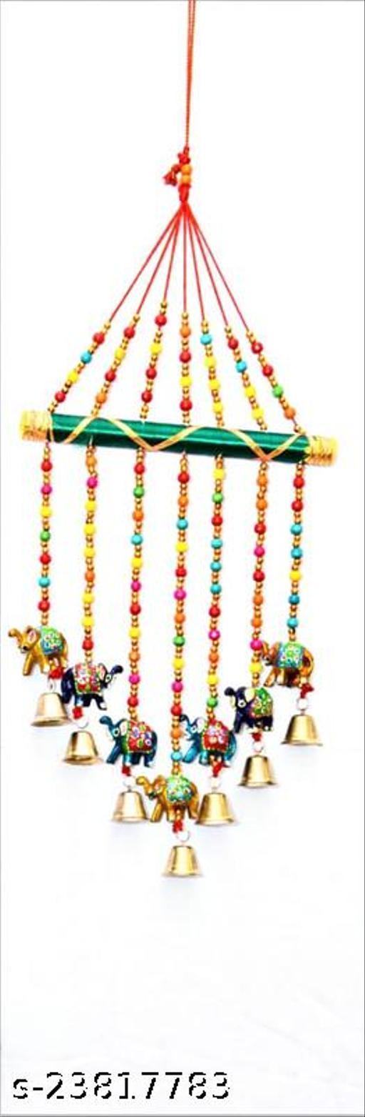 Multicolor Hathi with Bells & Decorative moti Design Toran Wall Hanging II Balcony/Garden/Window Bandarwal Decor II Entrance Door Hanging II Traditional Religious Festive Purpose