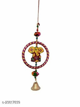 Decorative Wind Chime Door Hanging Multicolor Ganesha with Bangel & Bell Wall Hanging for Home, Temple, Event Decoration II Nice Gift Ideal II Balcony Window Décor