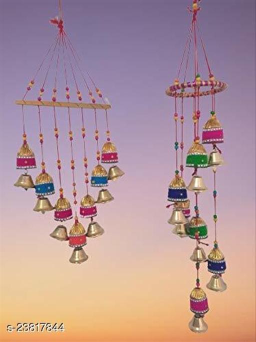 Handmade Decorative Multicolor Door Hanging & Toran with Bells Set of 2 II Gorgeously Designed Multicolor Wind Chime for Window/Door Hanging II Home Decor- Garden/Window Décor