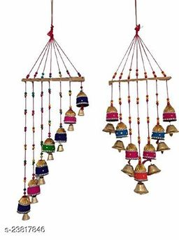 Gorgeously Handpainted Designed Multicolor Wall Hanging Bells for Wall Home Showpiece(180g) II Garden,Balcony Decor II Living Room, Guest Room II Positivity Gifts Set of 2
