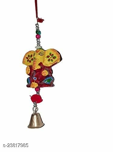 Decorative Wind Chime Door Hanging Multicolor Ganesha with Bell Wall Hanging for Home, Temple, Event Decoration II Nice Gift Ideal II Balcony Window Décor