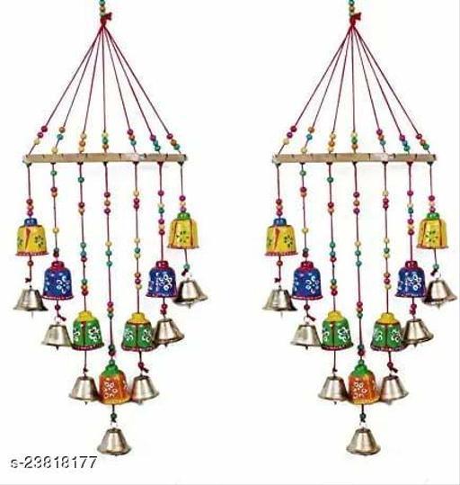 Multicolor Beautifully Designed with Bells Wall Door Hanging Set of 2|| Handmade Diwali Decoration Item || Door Hangings/Latkan Set for Entrance Decor Main Door/Living Room