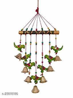 Handmade Multicolor Parrots Wall Hanging Bells II Balcony/Garden/Window Decor II Entrance Door Hanging II Traditional Religious Festive Purpose