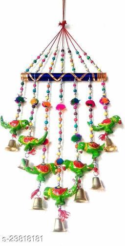 Handmade Multicolor Parrots Wall Hanging with Bells II Balcony/Garden/Window Decor II Entrance Door Hanging II Traditional Religious Festive Purpose