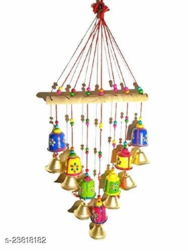 Rajasthani Wooden Multicolor Bells wall hanging Home Decor - for Garden decor, Living Room, Bedroom, Guest Room, Balcony, Window, Door Hanging II Gifting Ideal for your Loved ones