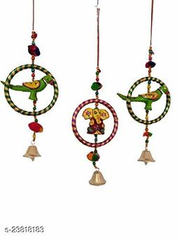 Decorative Wind Chime Door Hanging Multicolor Ganesha & Parrot with Bangel & Bell Wall Hanging for Home, Temple, Event Decoration II Nice Gift Ideal II Balcony Window Decor II Set of 3