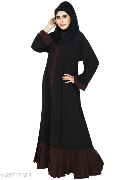 MODESTLY BLACK FRONT OPEN ABAYA WITH PLEATED CONTRAST BOTTOM