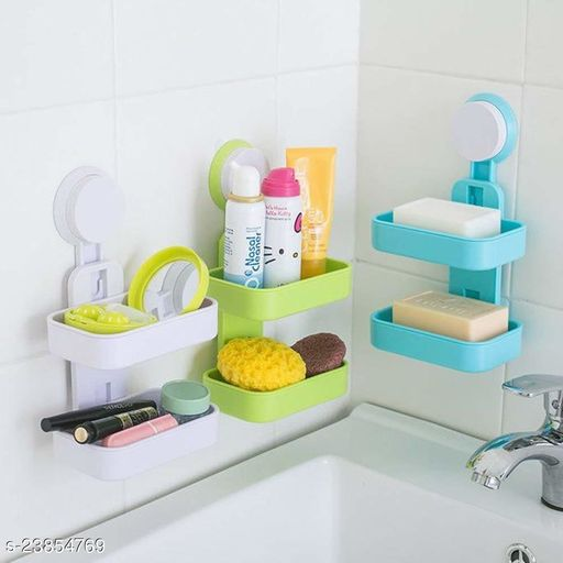 Plastic Suction Cup Double Layer Soap Box Hanging Holder