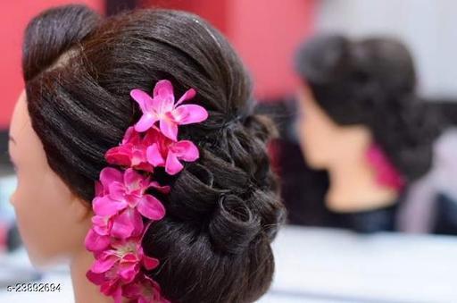 Charming Elegant   Pink Fabric Artificial Gajra