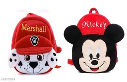 Krently Marshall-Mickey Soft Velvet Kids School/Nursery/Picnic/Carry/Travelling Bag - 2 to 5 Age Waterproof Backpack (Red,Red, 14 L)
