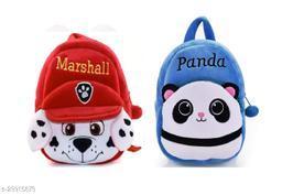 Krently Marshall-Panda Soft Velvet Kids School/Nursery/Picnic/Carry/Travelling Bag - 2 to 5 Age Waterproof Backpack (Red,Blue, 14 L)