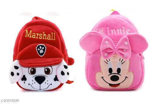 Krently Marshall-Minnie Soft Velvet Kids School/Nursery/Picnic/Carry/Travelling Bag - 2 to 5 Age Waterproof Backpack (Red,Pink, 14 L)